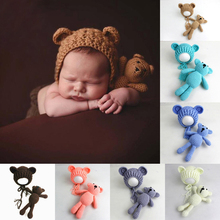 Newborn Photography Props Accessories Bear Hat Cap + Doll Sets Infant Bebe Soft Bonnet Handmade Knitted Beanie Bear Toy