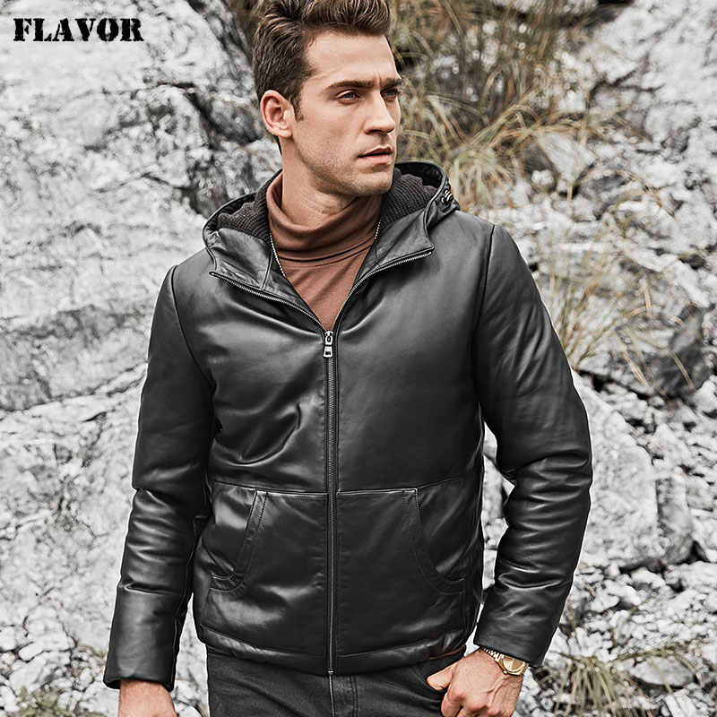 FLAVOR Men's Real Leather Down Jacket Hoodie Men Genuine Lambskin Winter Warm Leather White Duck Down Coat