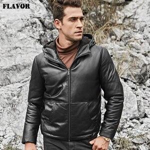 Image 4 - Kожаная куртка мужская толстовка на белом утином пуху FLAVOR, пуховик из натуральной шкуры ягненка, кожаное теплое пальто с капюшоном для зимы