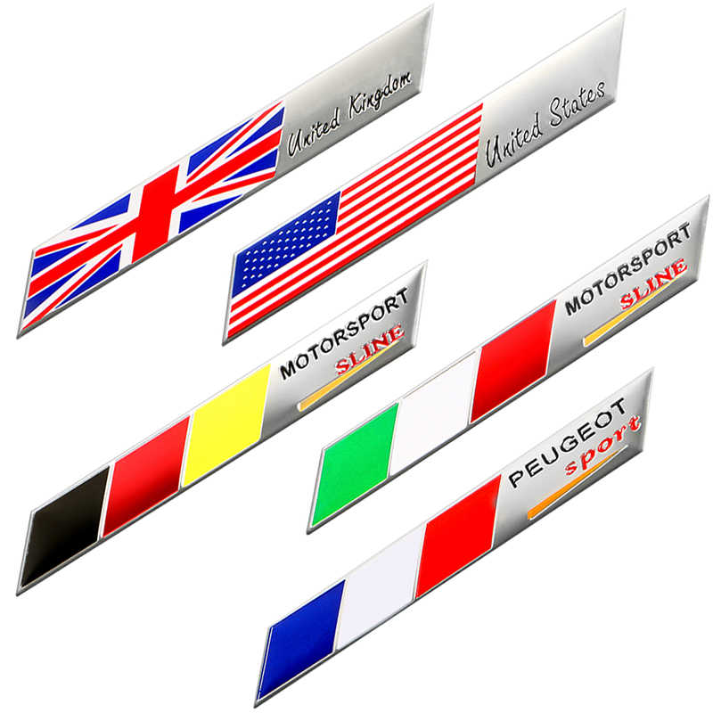 Car Styling 3D aluminum Number One Italy Japan Germany France UK USA Russia National flag Sticker Auto Motorcycle Emblem Badge