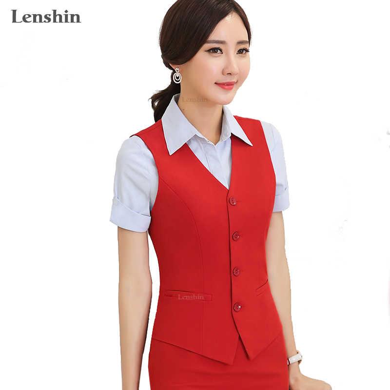Lenshin 여성 우아한 OL 조끼 조끼 Gilet v-목 비즈니스 경력 숙녀 정상 사무실 공식적인 작업복 겉옷
