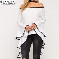 Zanzea 2018 النساء الإنتفاض متوهج الأكمام قمم القمصان بلوزة مثير قبالة الكتف مائل العنق ضئيلة قمم blusas زائد الحجم 5xl