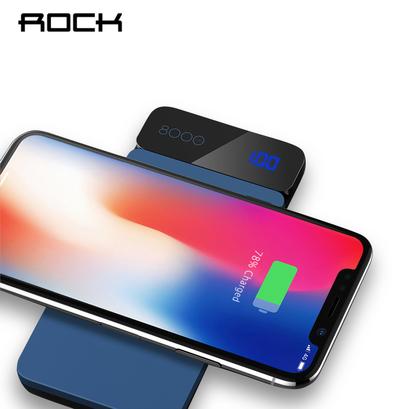 ROCK 8000 mAh QI Sans Fil Chargeur Power Bank 2A Portable Externe Chargeur de Batterie Powerbank Pour iPhone X 8 Samsung