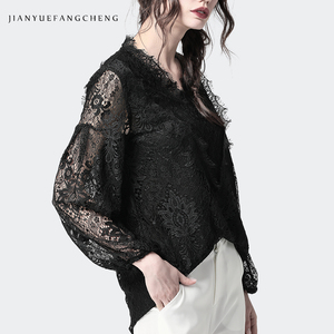 Image 3 - Lace Shirt Hollow Out Floral Blouse Women Long Sleeve triangle ruffle Top Solid Color Loose 2019 Fashion Sexy Korean Clothing