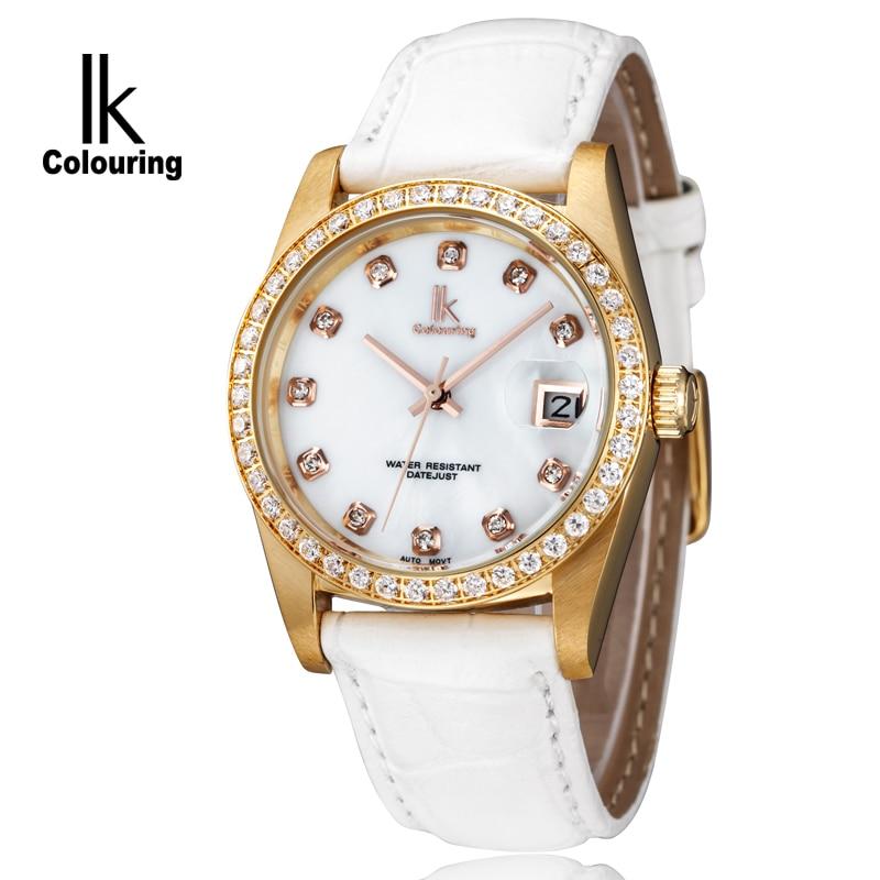 ФОТО IK Watch Men's Women Day Crystal Mother-of-Pearl Dial Hardlex Watches Auto Mechanical Horloge Wristwatch Orignal Box Free Ship