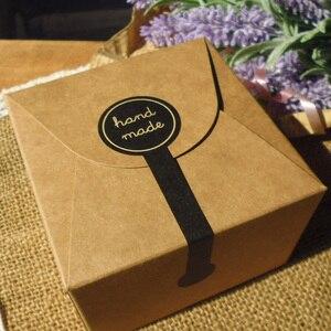 "100pcs Long Style ""HAND MADE"" Black Kraft Paper Baking Sealing Sticker Vintage DIY Gifts Posted Bake Package Label(China)"