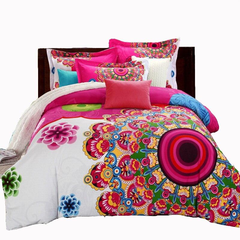 Mandala Bohemian Style Boho Reactive Printed Bedsheet Duvet Cover Pillowcase Adult Double Bed Queen King Size 4pcs Bedding Set
