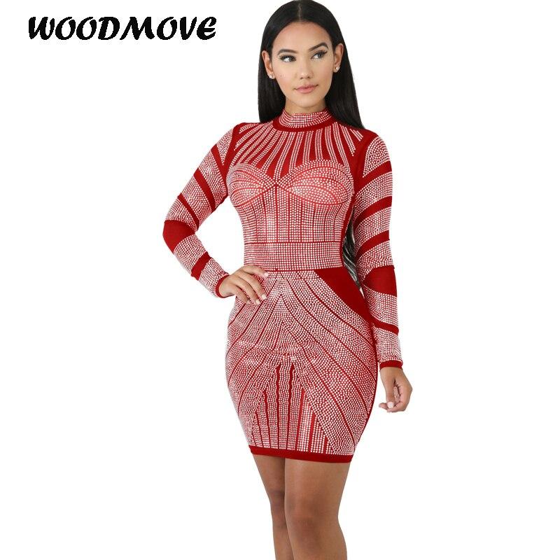 Automne femmes à manches longues robe moulante Sexy Slim Fit o-cou dames extensible fête crayon robes