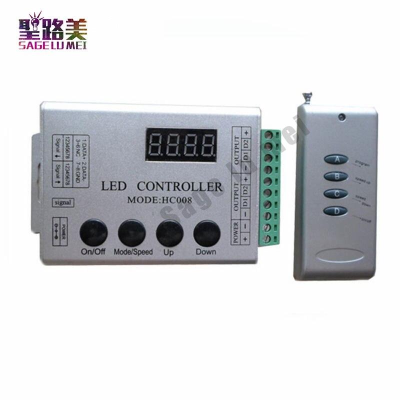 DC12V 4Keys RF Remote RGB LED Controller HC008 Magic Dream Color RF 133 effect modes WS2811 For LED Strip Light 5m dc12v 5050smd 150leds ldp6803 ic magic dream color ip66 silicone waterproof flex led strip 133 programs rf remote controller