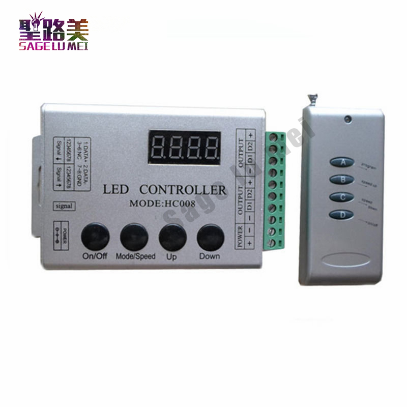 DC5V-24V 4Keys RF Remote RGB LED Controller HC008 Magic Dream Color RF 133 Effect Modes DC12V WS2811 1903 For LED Strip Lighting