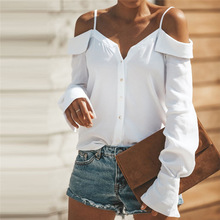 Women Blouse 2018 New Brand Lady V-Neck White Loose Long Sleeve Solid Casual Tops Shirt Blouse feminina Dropshipping #FY10