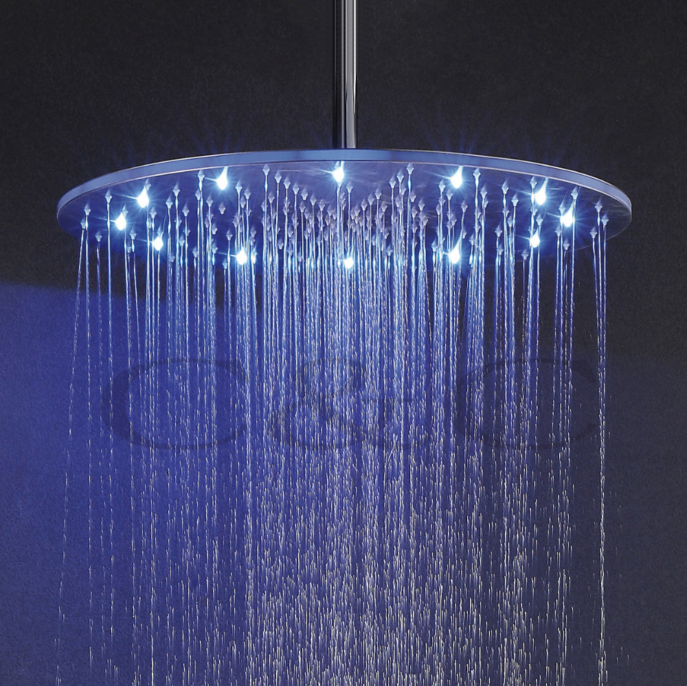 20 Inch Rain Shower Head.Us 202 34 29 Off Stainless Steel Led Rainfall Shower Head 20 Inch Round 3 Colors Top Shower Free Shipping Bd006 2 In Shower Heads From Home