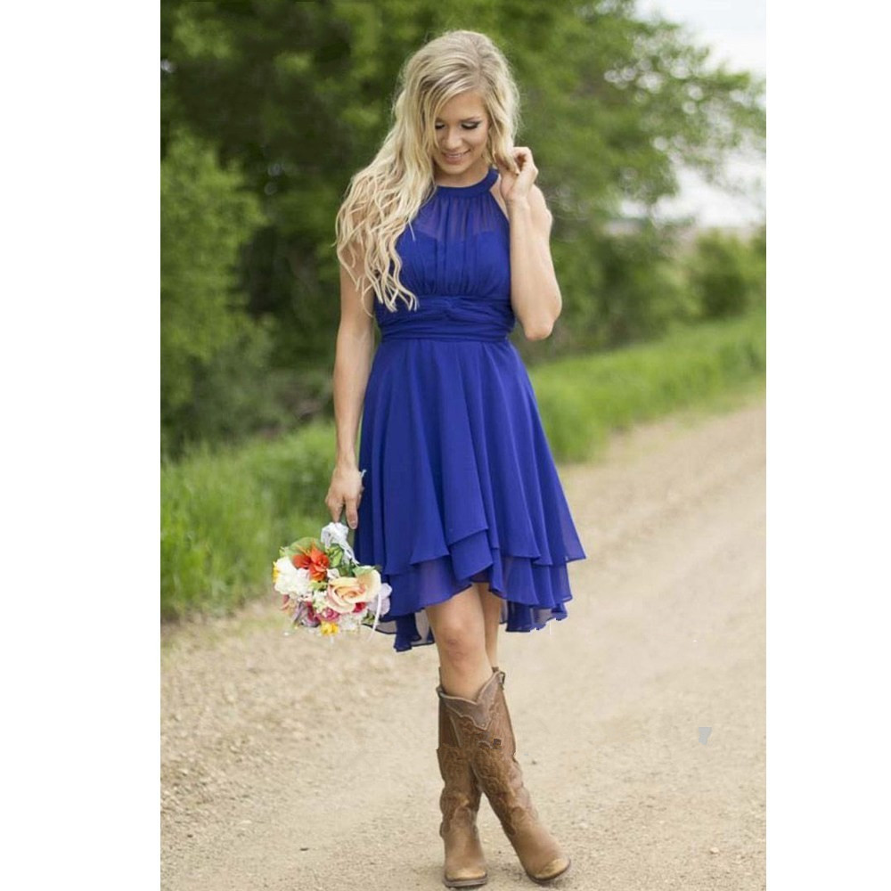 Low Navy Blue font b Bridesmaid b font font b Dresses b font High Collar Wrinkled