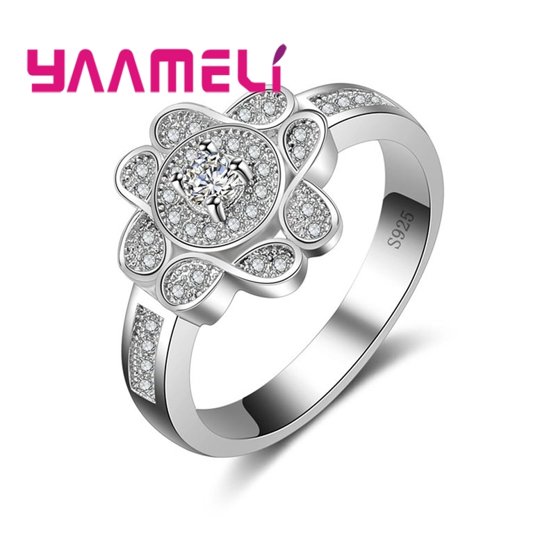 YAAMELI Hot Sale 100% 925 Sterling Silver Cubic Zirconia Wedding Jewelry Acessory Women Fashion Popular Size 6 7 8 9 Rings