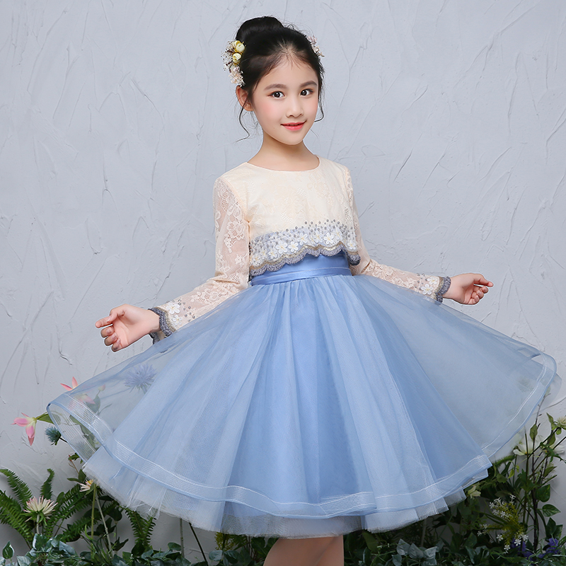 Royal Princess Dress High Quality Lace Ball Gown Long Sleeve Flower Girls Dresses Kids Prom Dress Lace Girl Communion Dress A43 criss cross lace panel long sleeve dress