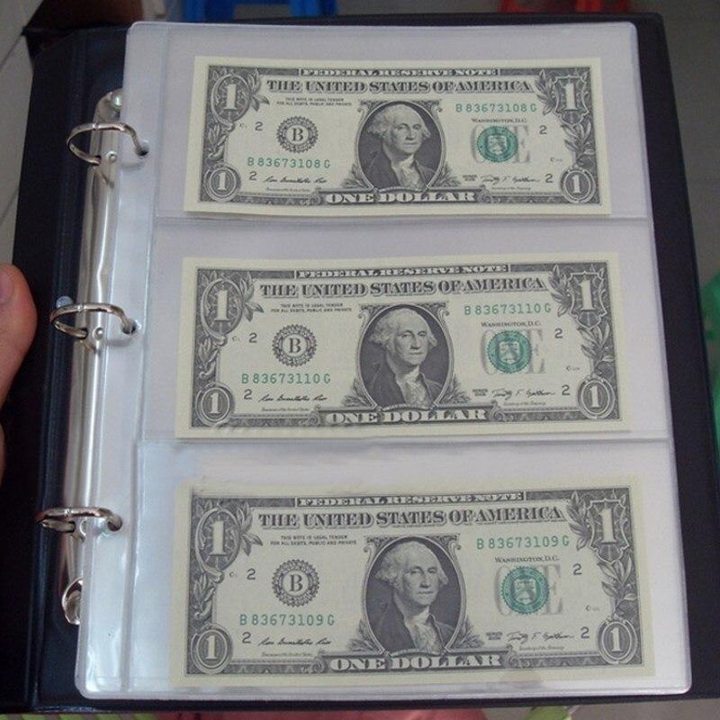 10 unids/set PVC extraíble transparente Sábanas para el papel moneda álbum colección billetes álbum artesanía decorativa 25.5x20 cm
