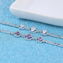 TJP Charm Purple Crystal Princess Crown Bracelets Anklets Fashion Girl 925 Sterling Silver  For Women Wedding Bijou