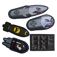 50 PCS Angry Flying Bullet Subdued Morale Tactical Patch Hook&Loop Embroidered Badge Appliques Military Badges Emblem Wholesale