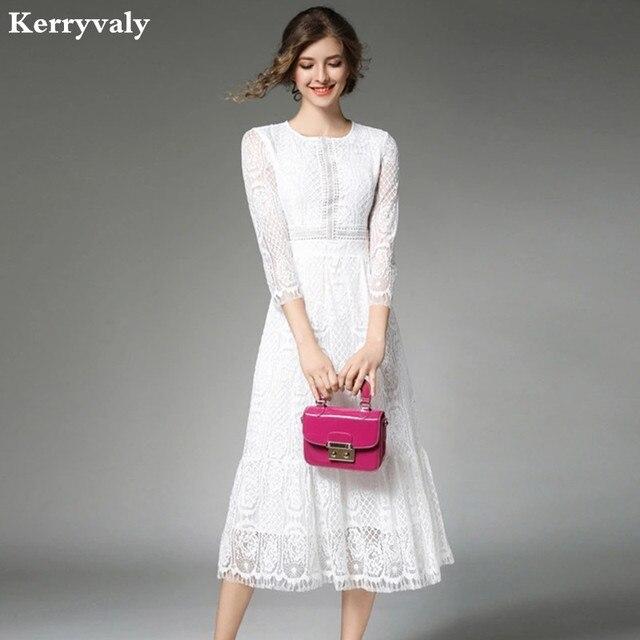 Elegante Lungo Delle Donne Del Vestito di Pizzo Bianco Vetement Femme 2019  Robe Longue di Estate c02befa7bf2
