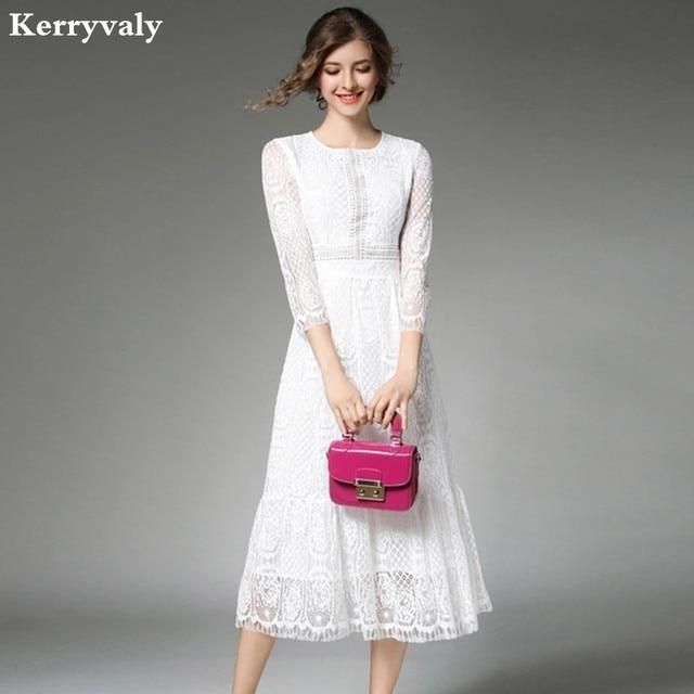 Lange Witte Maxi Jurk.Elegante Vrouwen Lange Witte Kanten Jurk Vetement Femme 2019 Robe