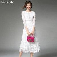 Elegant Women Long White Lace Dress Vetement Femme 2017 Robe Longue Ladies Summer Maxi Dress Dames