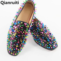 LTTL Fashion Colorful Spikes Mens Studded Shoes Top Fashion Patent Leather High Quality Wedding Slip On
