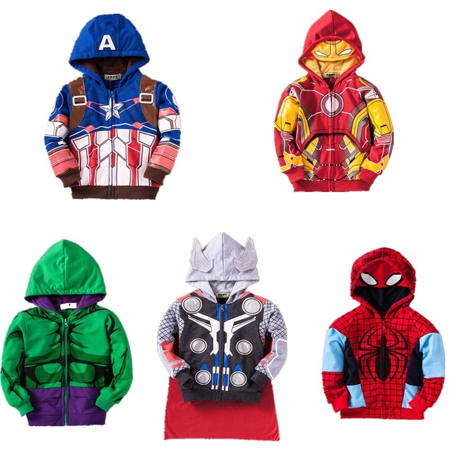 Crianças Jaquetas de Moletom Com Capuz Jaquetas Casacos Meninos Vingadores Homem De Ferro Hulk Thor Homem Aranha Meninos Roupas de Bebê Criança Traje Top Tees T Camisas