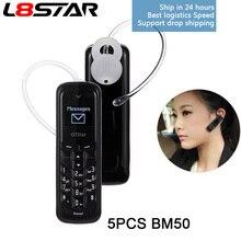5 Stks/partij BM50 L8STAR Mini Hoofdtelefoon Pocket Telefoon Gtstar Unlocked Wireless Bluetooth Headset Dialer Dual Sim Mini Telefoon Groothandel