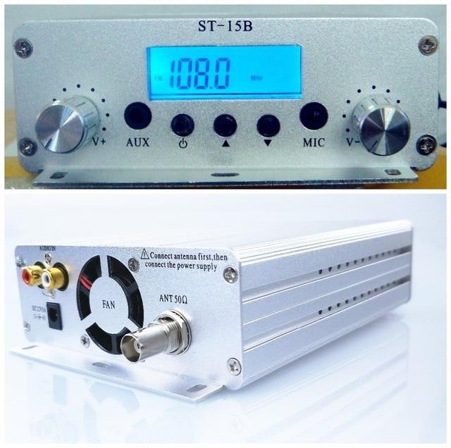 15W 12V 5A 76MHz 108MHzเครื่องส่งสัญญาณวิทยุFMสเตอริโอPLLวิทยุFm Broadcast Station ST 15B