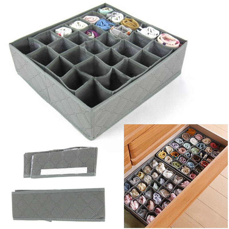 30 Grids Bamboo Charcoal Storage Box Underwear Organizer Foldable Home Storage Box Ties Socks Shorts Wardrobe Drawer Case