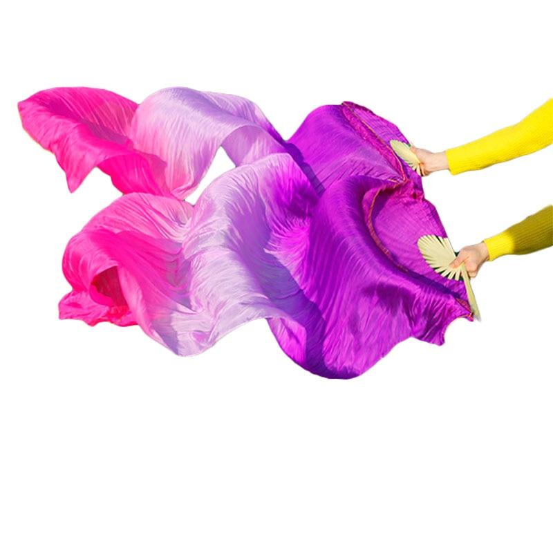 2018 High selling Real Natural Silk Veils 1 Pair handmade women Quality Silk Belly Dance Fans Dance Purple, light purple, rose