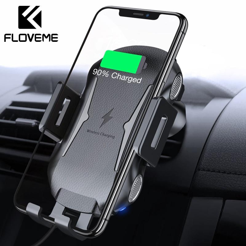 FLOVEME Auto Qi Drahtlose Ladegerät Für iPhone XR XS Max X Intelligente Sensor Schnelle Wirless Lade USB Drahtlose Auto Ladegerät halter