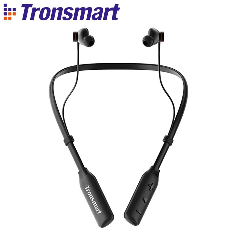 Tronsmart Encore S2 Plus Bluetooth Earphones IPX45 Headphones Waterproof Earphones Wireless Bluetooth Headset with Neckband ravi sx 991 sports bluetooth headphones retractable foldable neckband wireless headset anti lost waterproof earphones auriculars