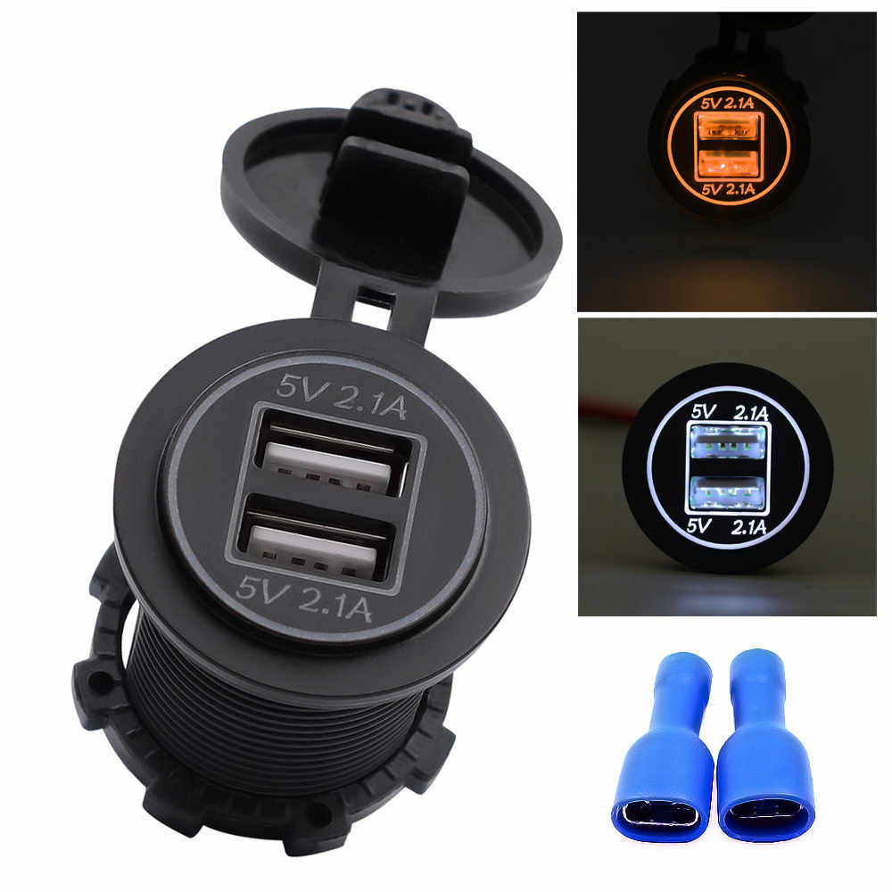 Waterproof 2.1A Motorcycle Car Charger 12V 24V Dual Usb Auto Led Voltmeter Panel Power Adapter Socket Cable With Fuse #YL6