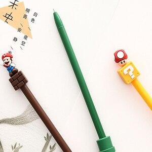 Image 4 - 30 יח\חבילה Kawaii סופר מריו ג ל עט Cartoon ג ל עט חידוש 3D מכתבים בית ספר הפרס תלמיד ציוד לבית ספר סיטונאי