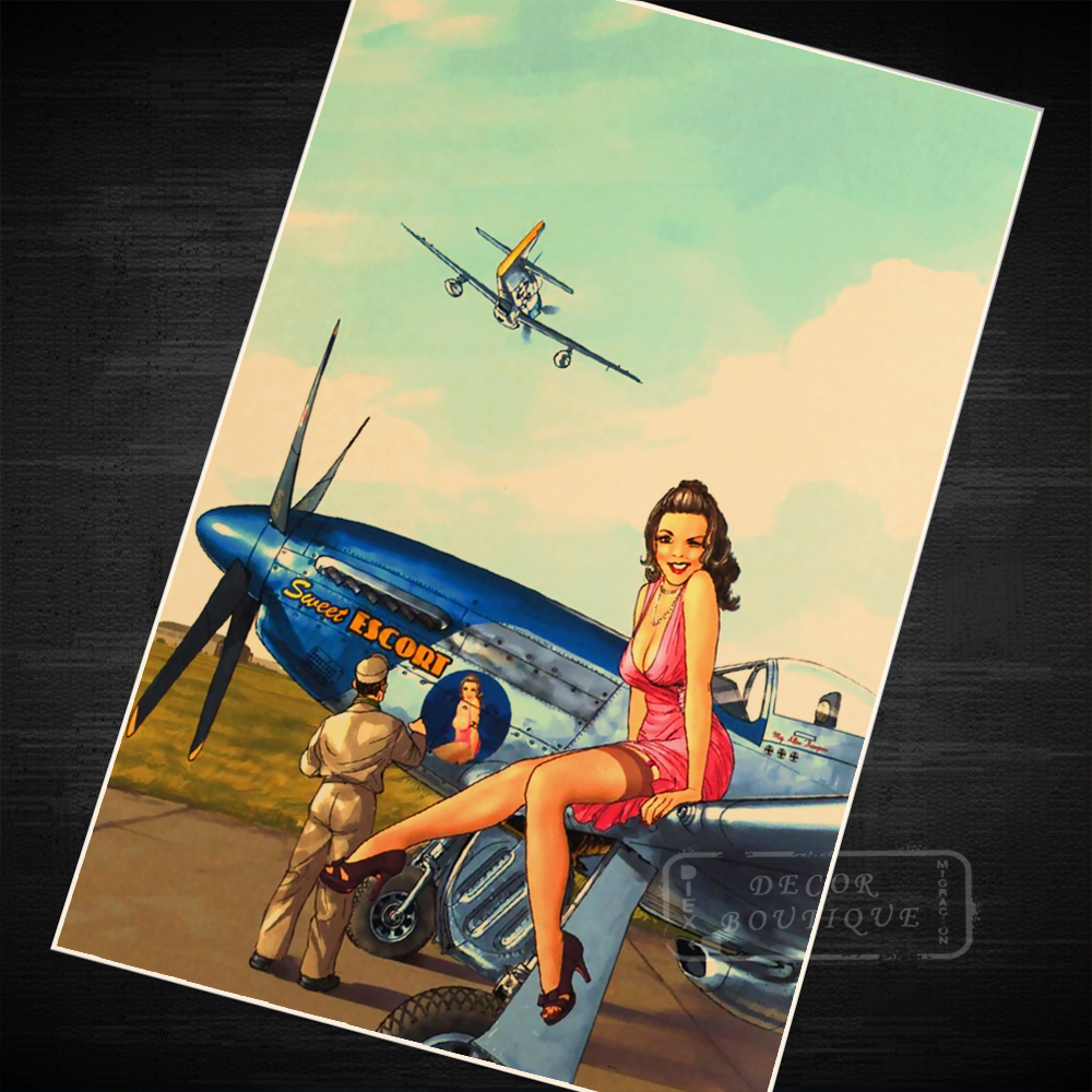 Pink Airplane Pin Up Girl Vintage Retro Canvas Painting Poster DIY ...