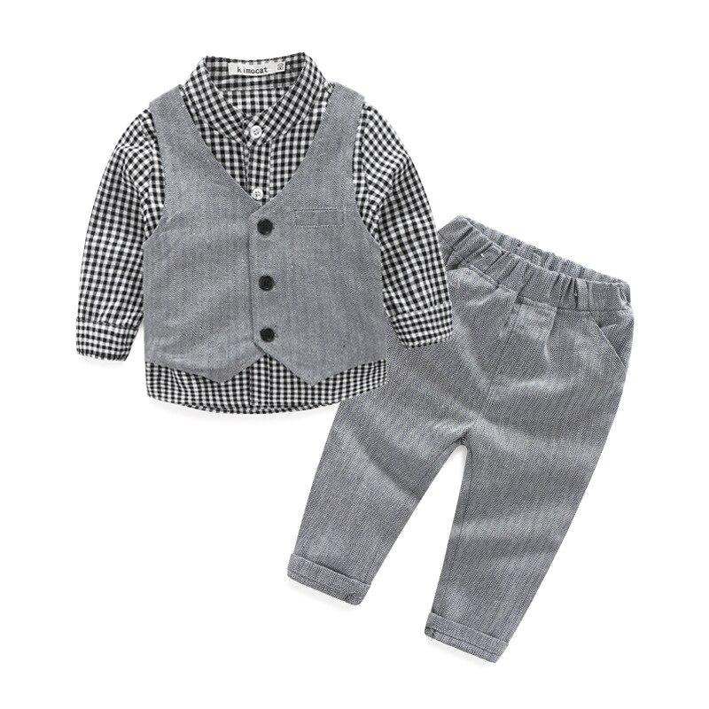 2017  new children 's clothing Europe baby plaid shirt vest trousers 3 piece sets boy gentleman suit  0-3 year stoosh new salmon juniors roll tab sleeve plaid shirt s $34 dbfl