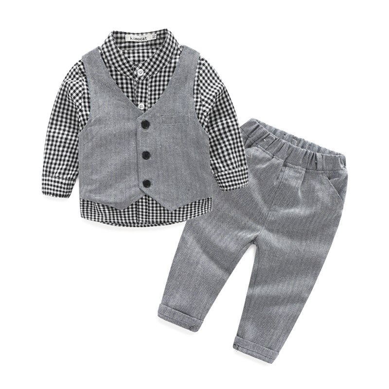 2018  new children 's clothing Europe baby plaid shirt vest trousers 3 piece sets boy gentleman suit  0-3 year