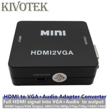 HDMI 2 VGA адаптер конвертер, HD1080P-In, ПК VGA Аудио выход разъем USB питание для HDTV ПК, ноутбук компьютер Бесплатная доставка