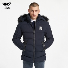 HAI YU CHENG Quilted Men Jacket Puffer Parkas Coat Male Winter Warm Overcoat Fur Collar Hooded Removable Parka Thick Men Jackets