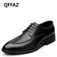 QFFAZ 2018 Spring New Retro Leather Men Dress Shoes Men Oxford Shoes Men Flats Formal Shoes