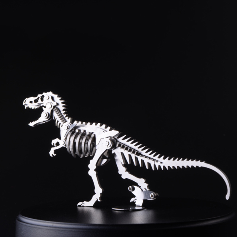 Finger Rock 3D Dinosaur Metal Puzzles DIY Tyrannosaurus Rex Stegosaurus Skeleton Model Toys Intelligence Jigsaws Toys For 14+ diy piececool 3d metal model toy dinosaur rock p062s orignal design puzzle 3d metal educational models brinquedos kids toys