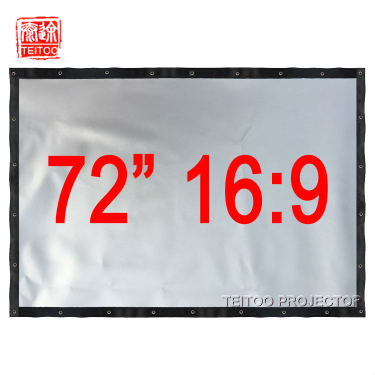Eerzuchtig 72 Inches 16:9 Zilver Cortina Metalen Front Projectiescherm Gordijn Film Stof Om Home Cinema Systeem Hd Led 3d Smart Projectoren
