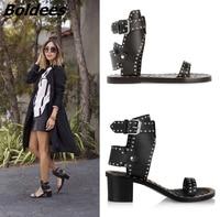 2017 New Fancy Ankle Wrap Buckle Block Heel Shoes Roman Style Rivets Dress Sandals Fashion Women