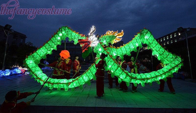18m hossza méret 3 zöld selyem ruhák világító LED fény kínai - Jelmezek