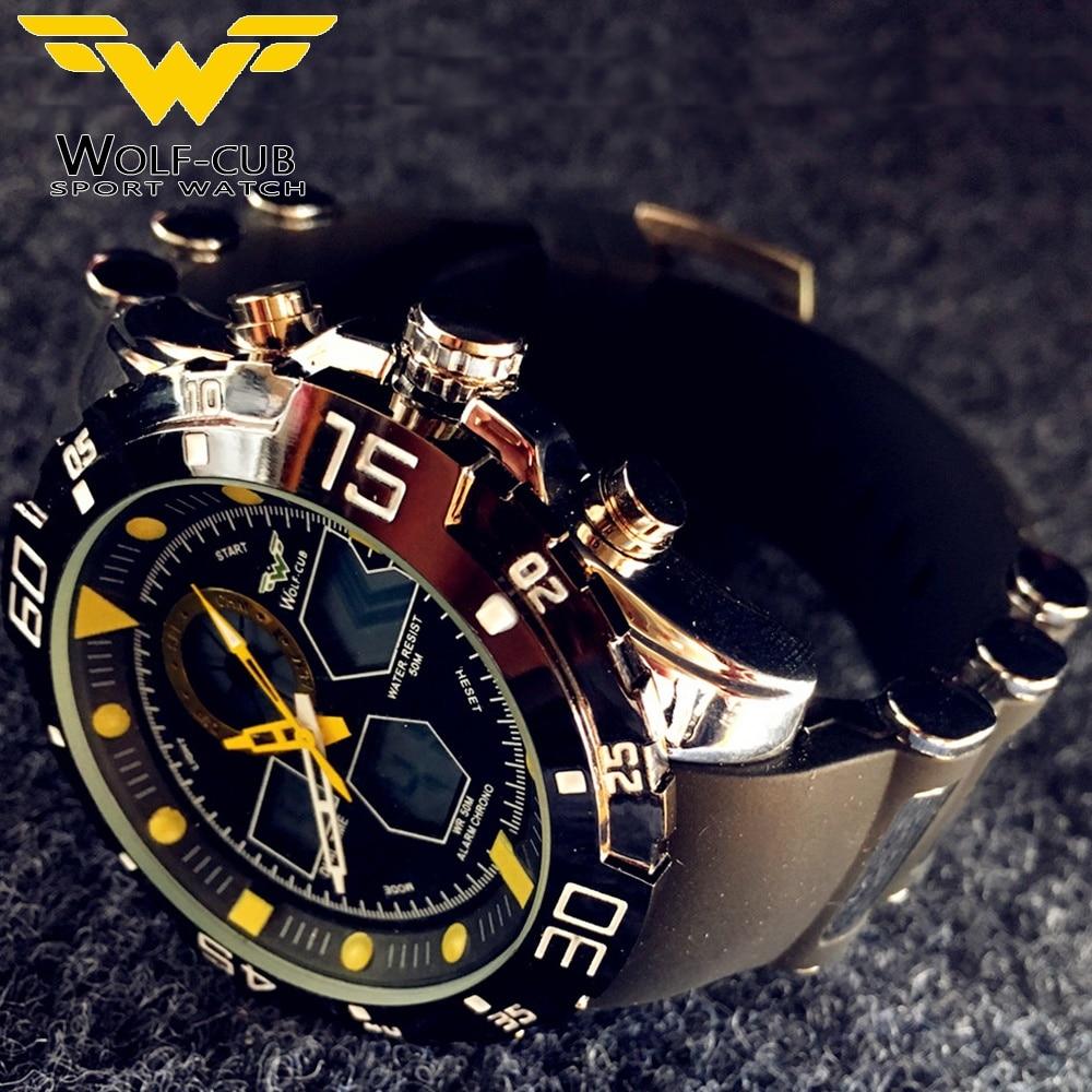 Sport Watch Brand Auto Date Day LED Alarm Black Blue Silicone Band Analog Quartz Military Men Digital Watches WOLF CUB 6 color|Quartz Watches| |  - title=