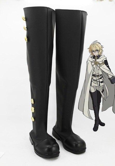 Le plus récent séraphin danime japonais sur mesure de la fin Vampire règne Mikaela Hyakuya Cosplay chaussures bottes pour Halloween
