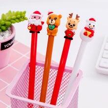 20 шт., черная нейтральная рождественская ручка с шапочкой в виде медведя, 0,5, канцелярские принадлежности для студентов