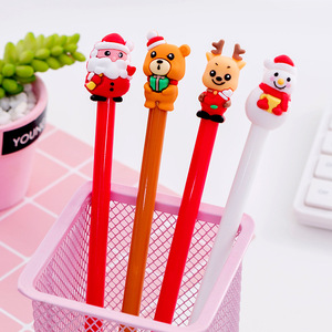 20 pcs Christmas gift pen cap Bear Christmas neutral pen 0.5 black student neutral pen stationery