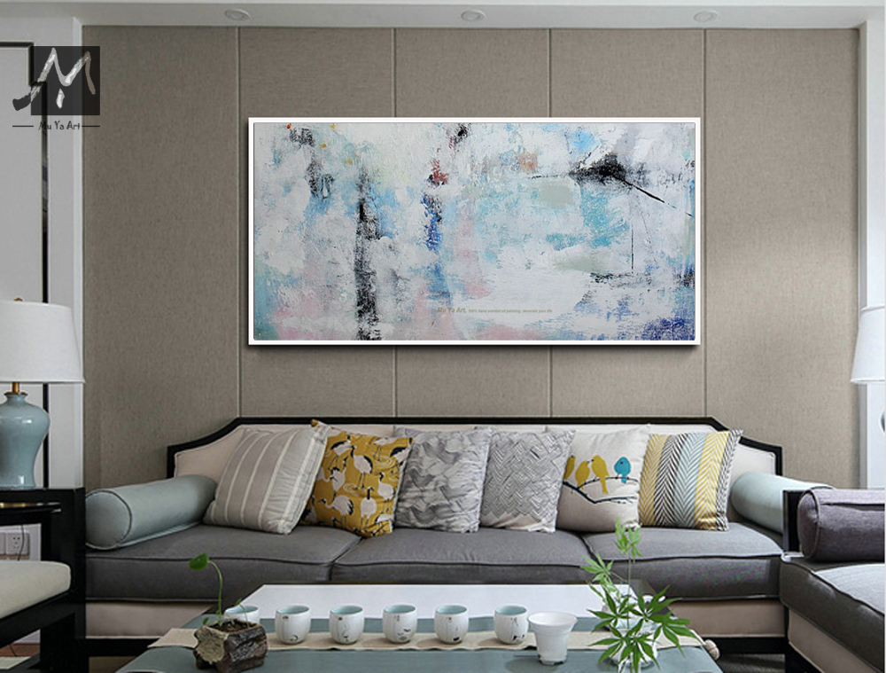 Muya Blue Abstract Painting Canvas Cheap Modern Acrylic